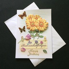 'A Bunch of Golden Gerberas for Your Birthday' Card