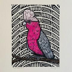 Australian Birds - Pink Galah - Linoprint and watercolour