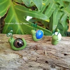 Dark Green Friendly Trio Garden Snail Set