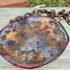 Ocean Leopard- enamel copper pendant