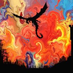 Dragon fire Original Digital Art Print Signed