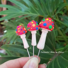 Set of 3 Red Round pointed Mushrooms with Rainbow spots