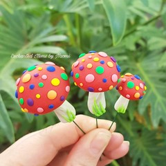 Set of 3 Red Mushrooms with Rainbow spots