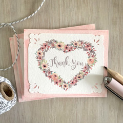 Notecard Set of 3 Floral Heart Wreath Pink - THANK YOU