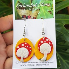 On Sale - Funky Mushroom Dangles (oval/egg shape)