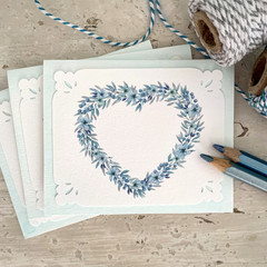 Notecard Set of 3 Floral Heart Wreath Aqua - BLANK