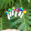 Rainbow Swirly Top Mushroom set of 7