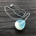 Handmade Glass Lampwork Ocean Teardrop Bead Sterling Silver Necklace OOAK