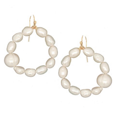 Helena fresh water pearl hoop 14K Gold