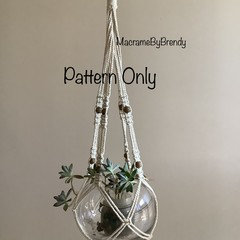 'Lucy' DIY Macrame Pattern Pot Plant Hanger without a tassel