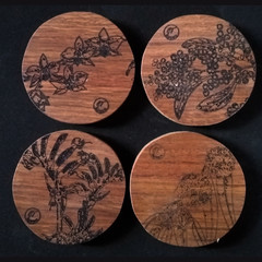Australian Wildflower Themed Coasters - Recycled Hardwood (Set of 4)