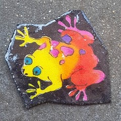 Cute frog brooch. Yellow, pink and red. Ideal gift for frog coolectors