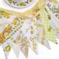 Vintage Bunting - Retro Sunshine YELLOW / Lemon 'Multi' Floral Flags.