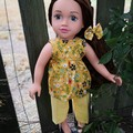 Mustard floral/yellow top/pants set for 45cm/18 inch doll