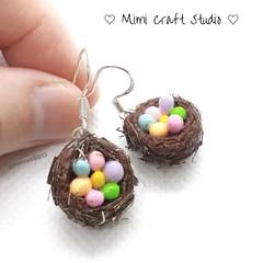 Miniature Eggs in the nest dangle earrings, Easter eggs earrings, Easter gift