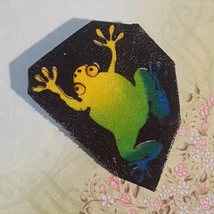Cute frog brooch. Yellow, blue and green. Ideal gift for frog coolectors