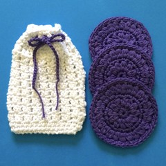 One Soap Saver in White with Purple Tie and Three Large Purple Scrubbies