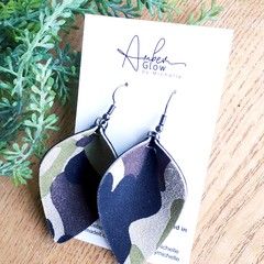 Pinched Petal, Genuine Leather Earrings, Army Green Camo Print
