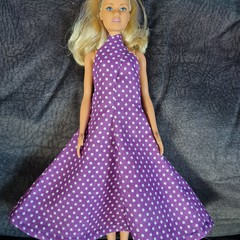 Barbie doll long purple and white spot dress