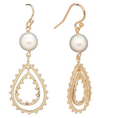 Double Teardrop Pearl 14k Gold or Sterling Silver Earrings