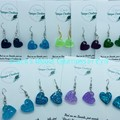 Resin Heart Earrings ~ Glitter~ Variety of colours