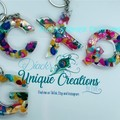 PERSONALISED KEY CHAIN ~ Letter ~ Chipped Sea Shells Dyed in Resin ~ Accessory