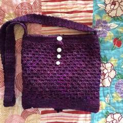 Deep dark plum coloured crochet pouch