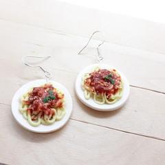 Pasta earrings, Spaghetti dangle earrings Mini food jewelry