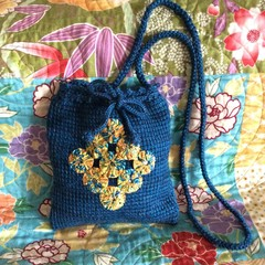 Deep teal  tunisian crocheted pouch with Liberty Suffolk puffs