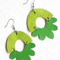 """Arch Flower""Genuine Leather Earrings, St. Patrick's Green"