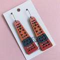 Multi Colour Aztec Wooden Statement Earrings