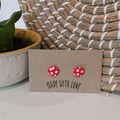 Red Polkadot Mini Studs 12mm