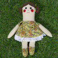 Jackie Cloth Doll - Mini Heirloom Style Fabric Doll in Vintage Yellow Print