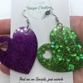 Resin Heart Earrings ~ Variety of colours