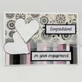 Engagement Card - Glittery Print panels and embossed hearts