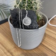 Australian Threepence Necklace Silver 925 beaded Chain 44cm