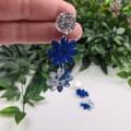 Daisy Drop Blue Sparkle Resin - Stud Dangle earrings