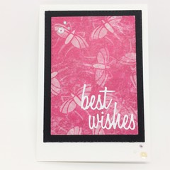 Birthday Card - Best Wishes Pink on Cream