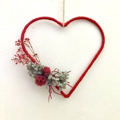 Red Heart- Heart floral hoop - Dried flower -21.5x23cmcm - Valentines Day - Love