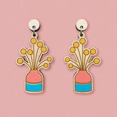 Billy Button Flower Vase Wooden Earrings // Laser Cut Jewellery // Statement