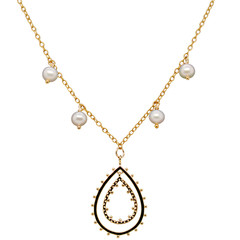 Double Teardrop Pearl 14k Gold or Sterling Silver Necklace