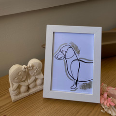 Picturesque Puppy Framed Line Drawing Artwork