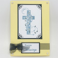Easter Card - Easter Blessings Flourished Cross Cream
