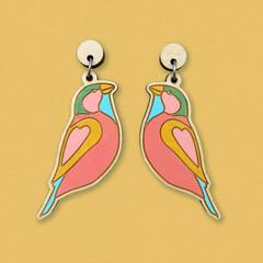 Rainbow Birds Wooden Earrings // Laser Cut Jewellery // Flower Statement Dangle