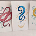Set 5 Rainbow Snakes original watercolour