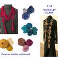 """""""Doodle"""" scarf woollen, crocheted, funky"""