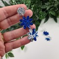 Daisy Drop Blue Sparkle Resin - Stud Dangle earrings