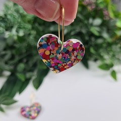 My beating Heart - Glitter Hoop Dangle earrings