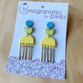 Suna Statement Earrings with Brass Drops in Lemon, Metallic Green and Blue Stone
