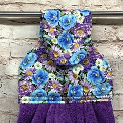 Blue/purple floral Designer Hand Towel